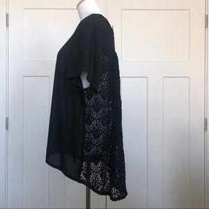Lane Bryant Crochet Back Blouse Black
